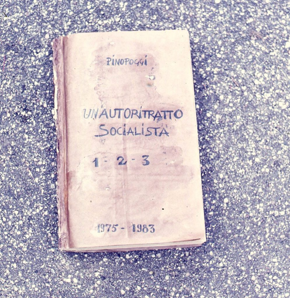 Handwritten title on found book cover.