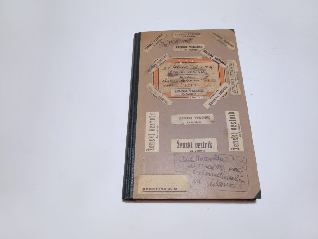 Front cover of found note book. Handwritten title and several collaged text scraps.