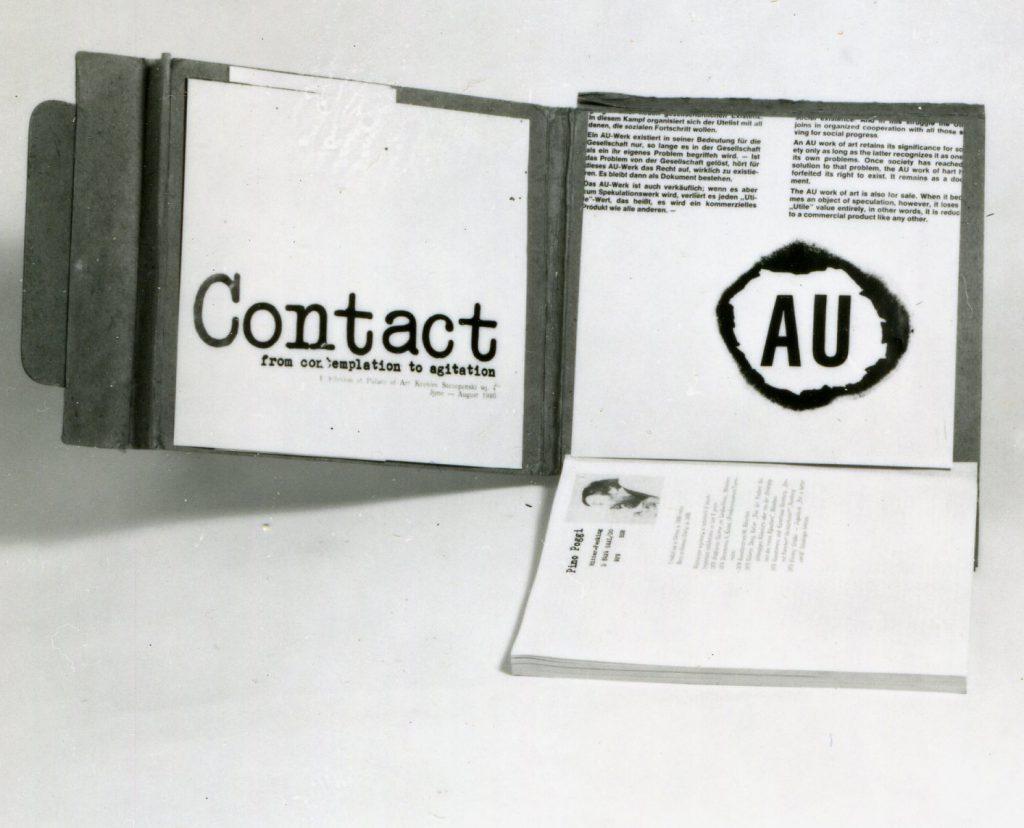 Information material inside unfold cardboard briefcase.