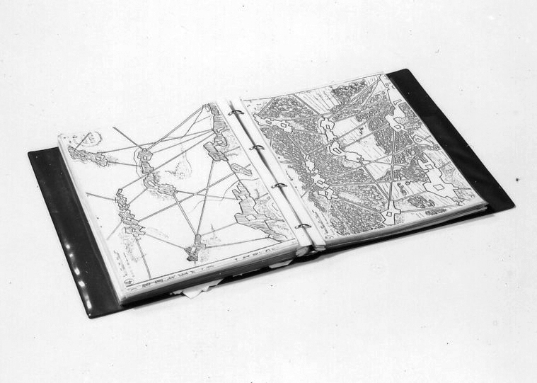 Ring binder with transparent plastic jackets containing landscape-architectural sketches.