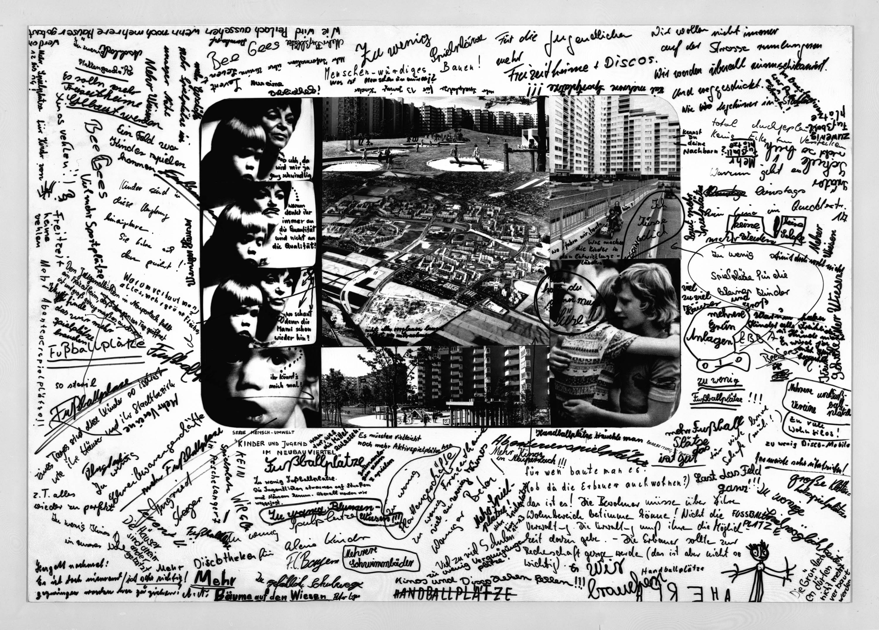 Photo collage on a white sheet. The blank space around the collage is totally full with handwritten phrases and a few drawings.