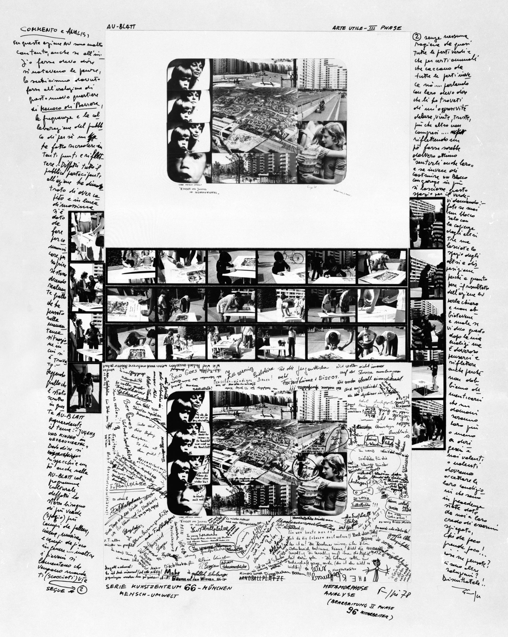 A large white sheet with several photo collages and lots of handwritten text around them.