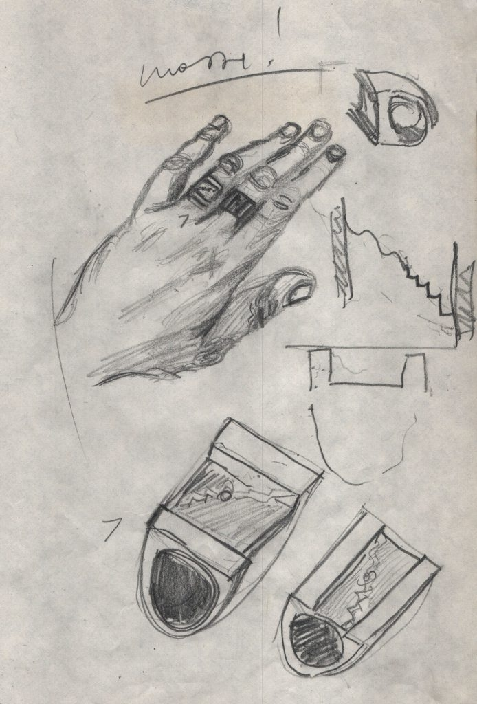 Hand wearing a ring. Several variations of rings.