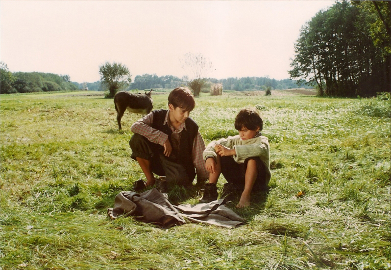 Two boys sit on the lawn.
