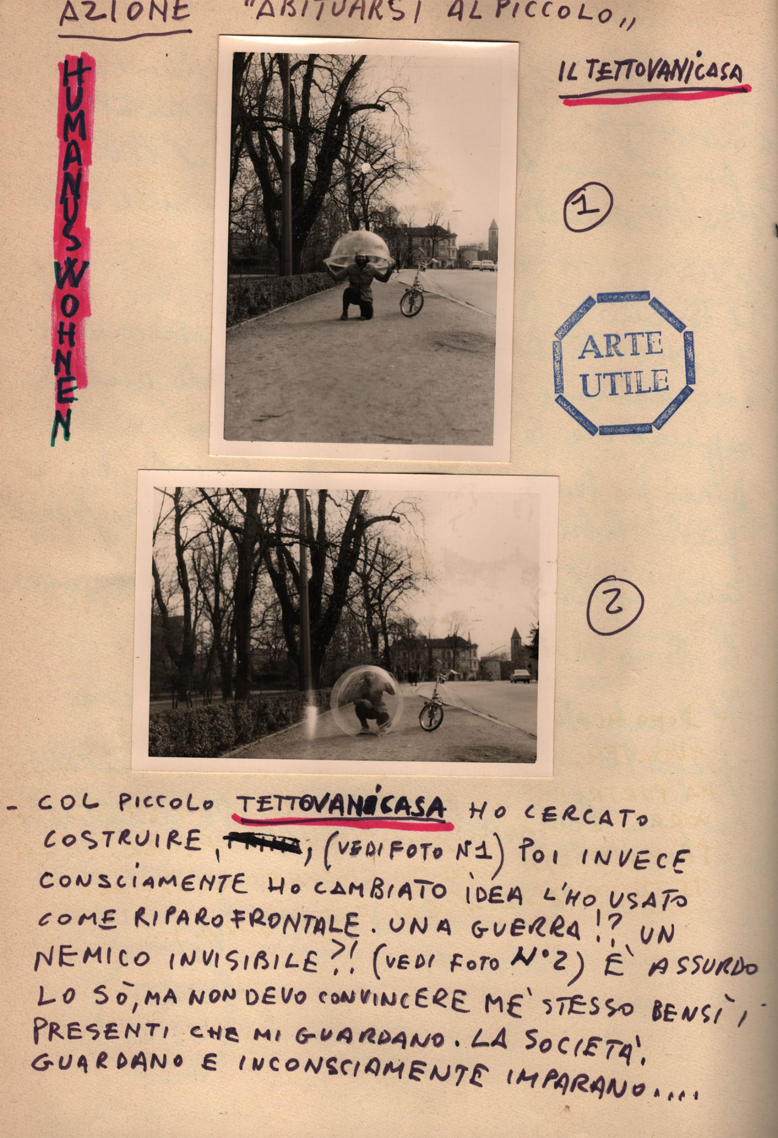 Page showing b/w photographs and handwritten text.
