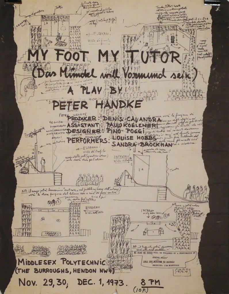 Poster for the play by Peter Handke – Sketches of the stage design overlayered with handwritten titel and informations