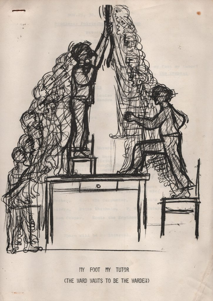 Sketch of a scene with some stage inventary