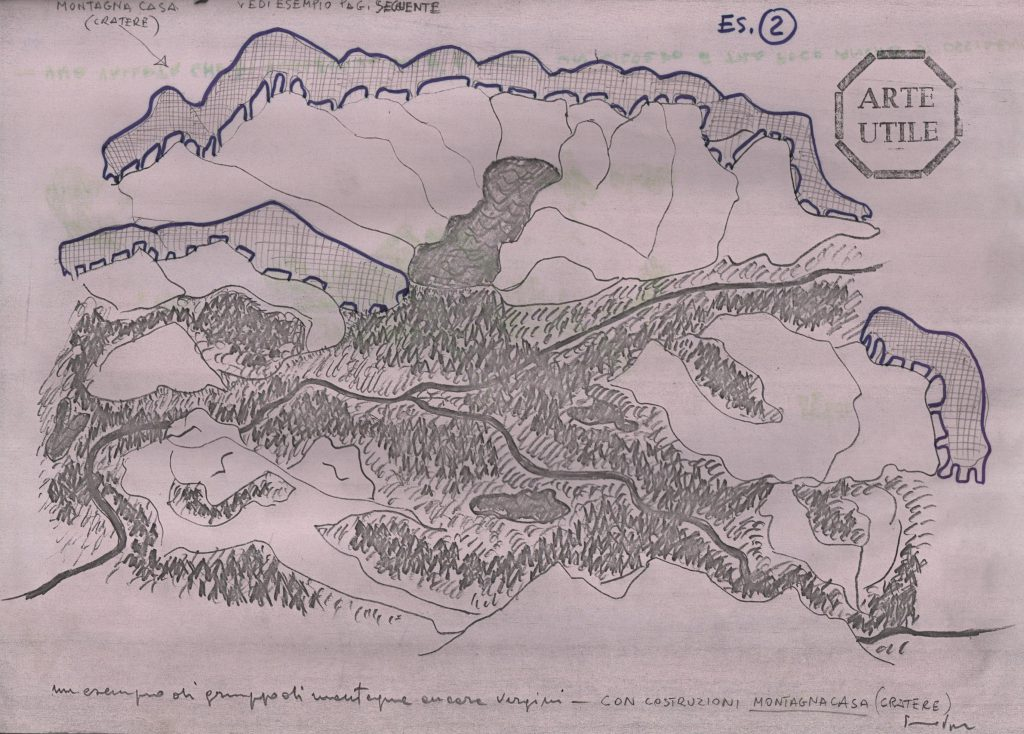 Sketched map of mountain area with marked buildings.