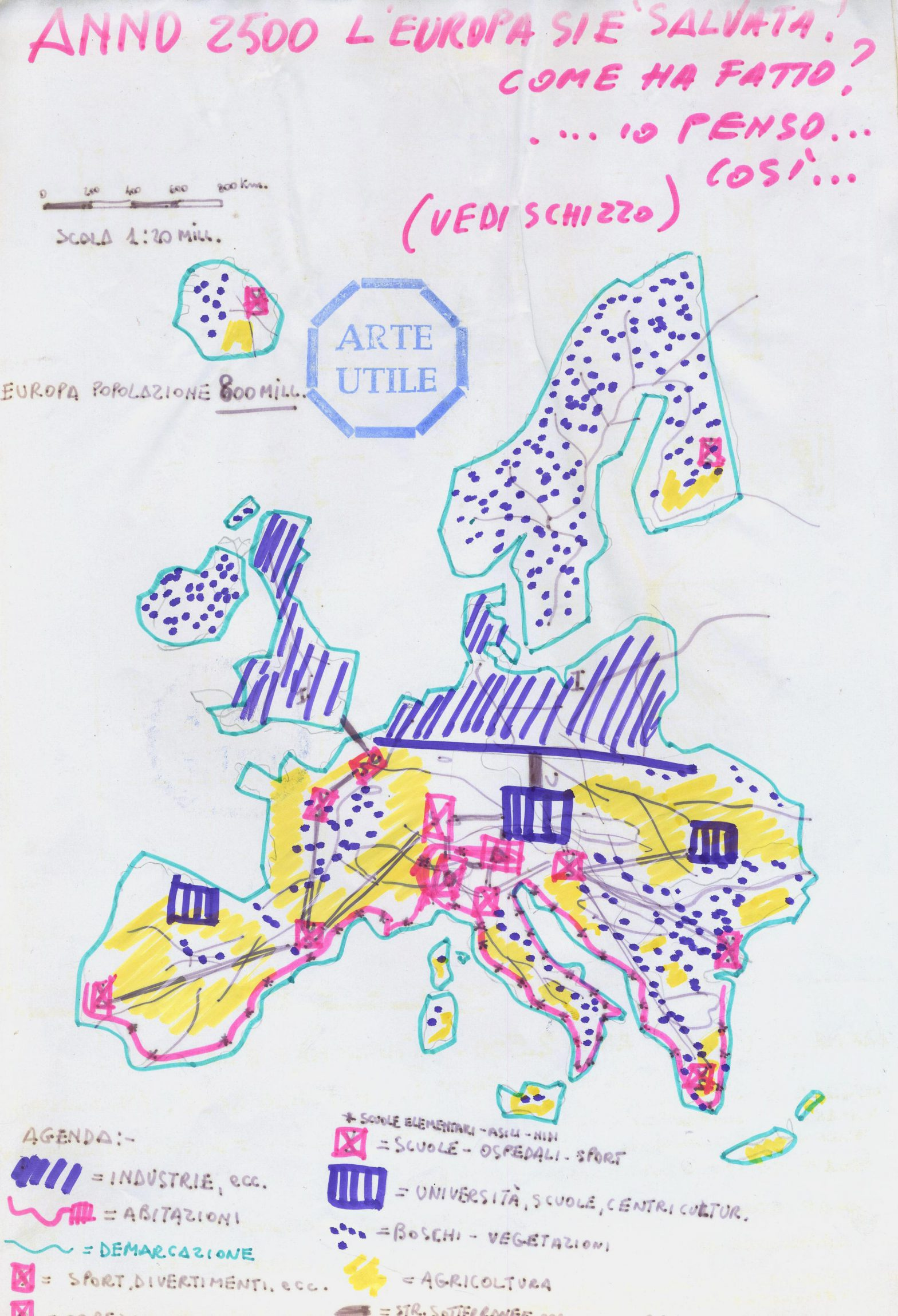 Schematic map of Europe with handwritten legend.