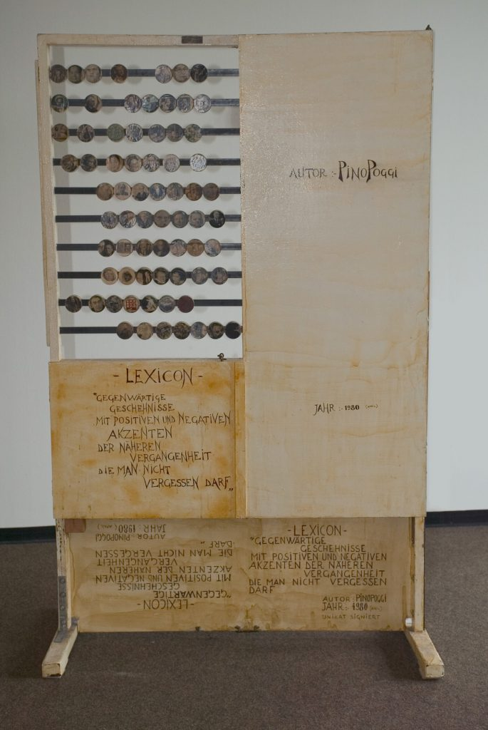 Messages and title are written by hand on the wooden panels on back side.