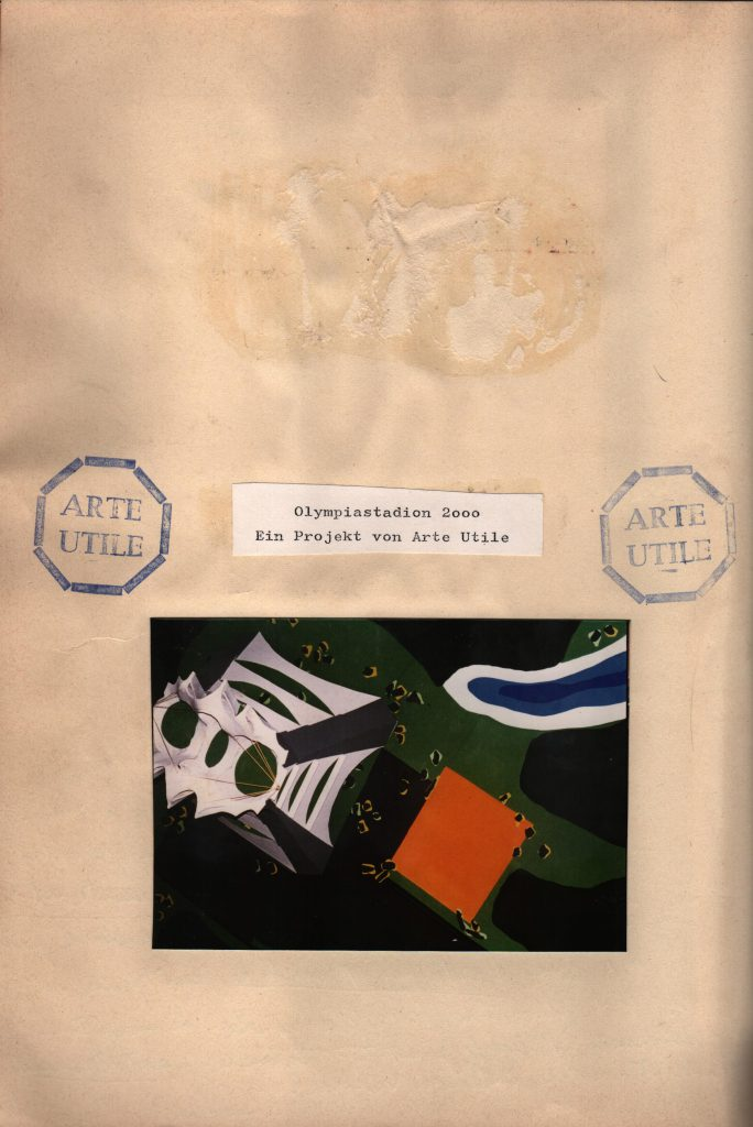 Sheet with title, photo of the model and Arte Utile stamps.