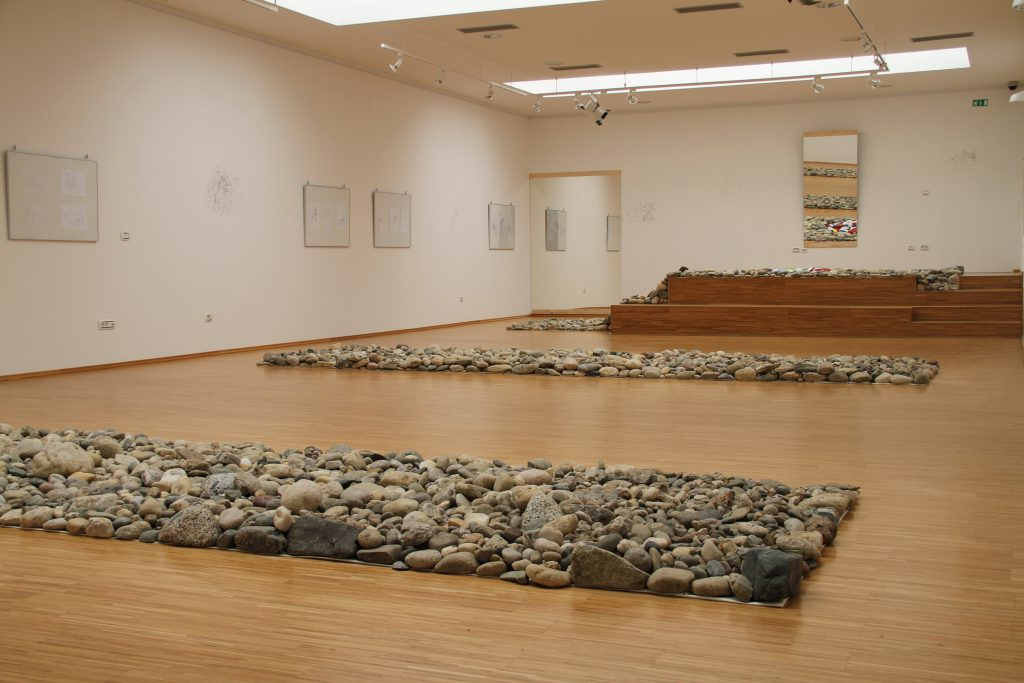 Several strips of stones on the floor.