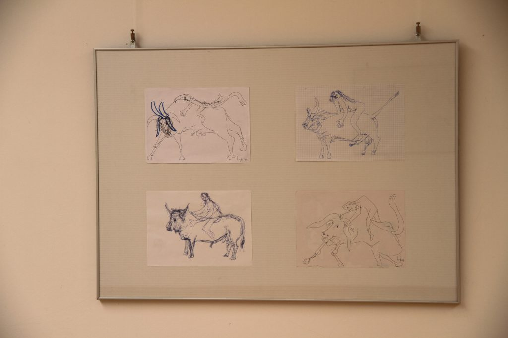 Framed sketches of a naked woman riding on a bull.