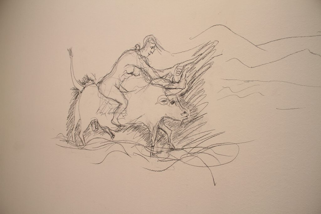 Sketch of a naked woman riding a bull.
