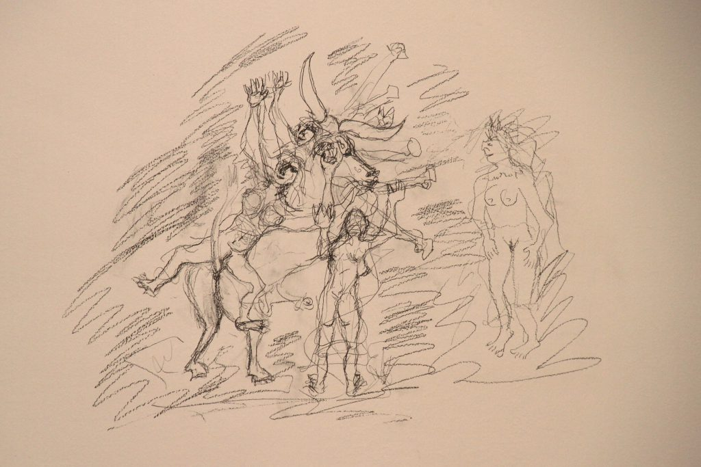 Sketch of naked womens and a bull.