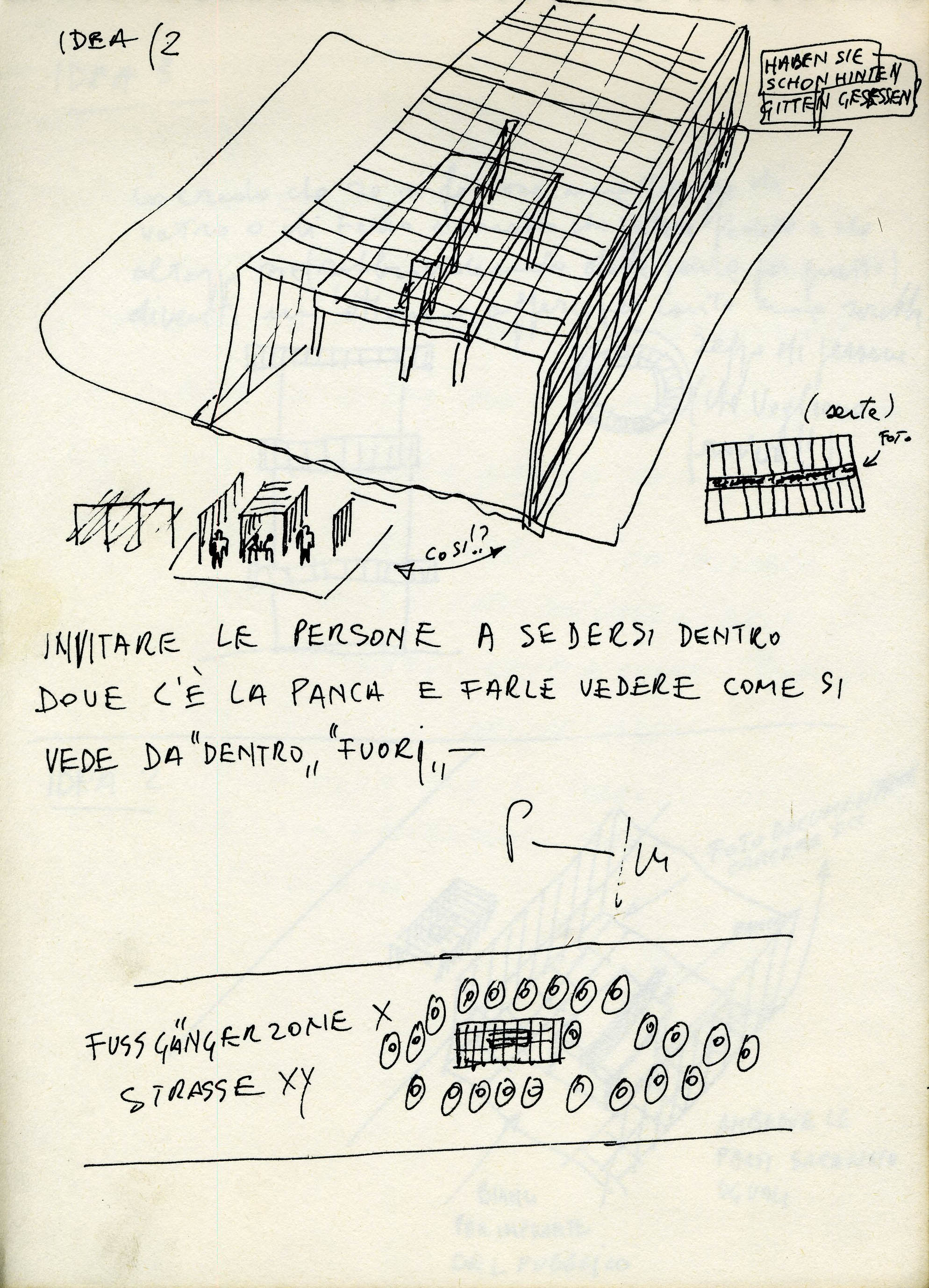 Sketch shows tunnel made of bars, set-up plan, and various notes