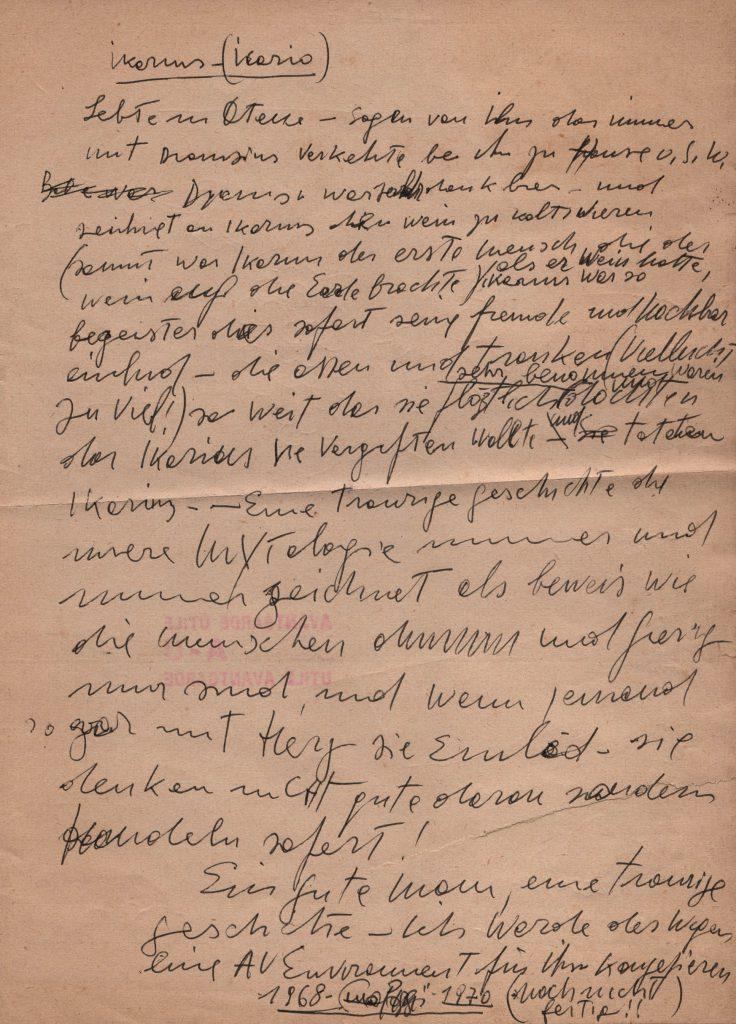 Handwritten notes on sheet of paper.