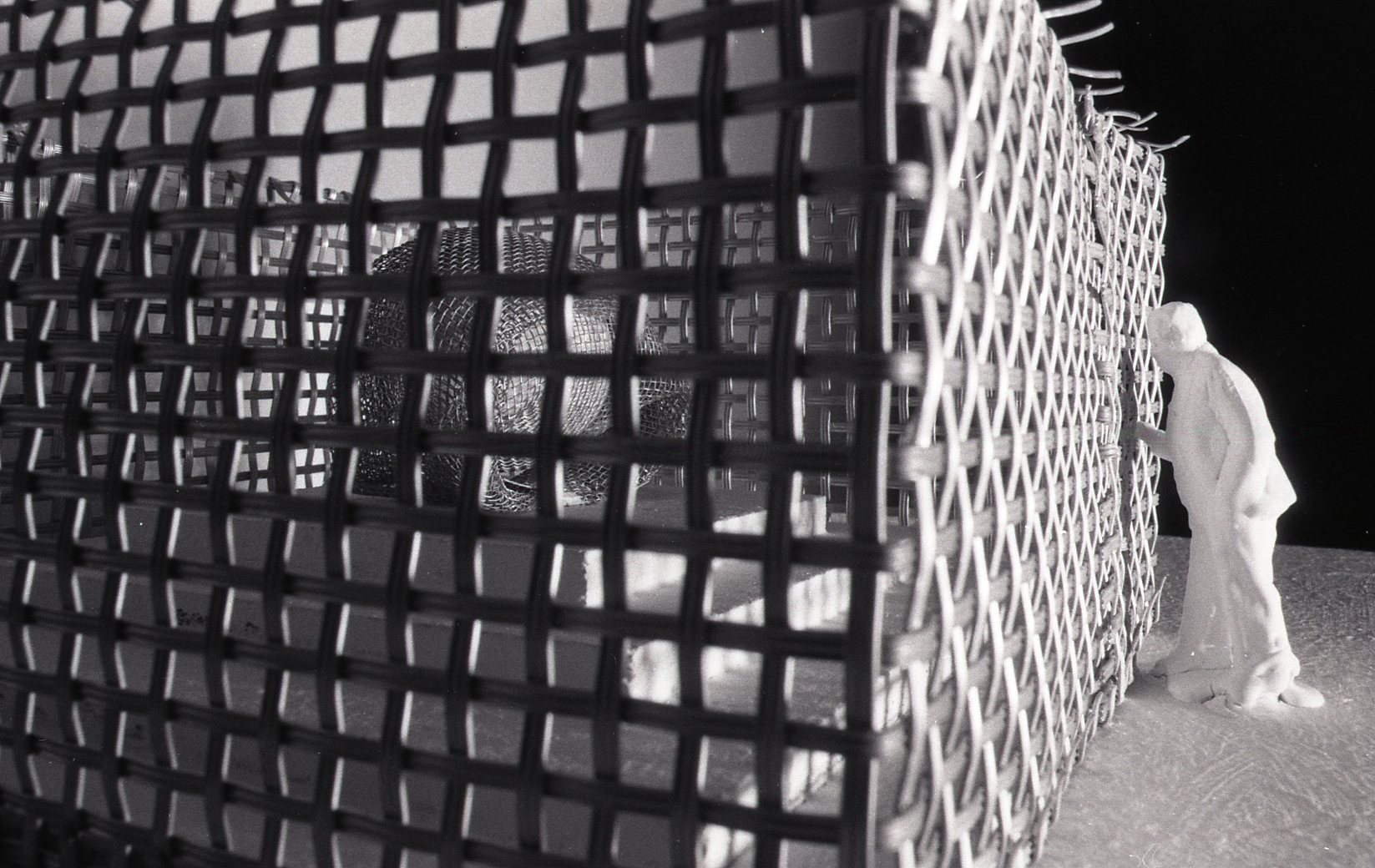 A figure looks through a cage around a podest with an giant egg wrapped in a net on top.