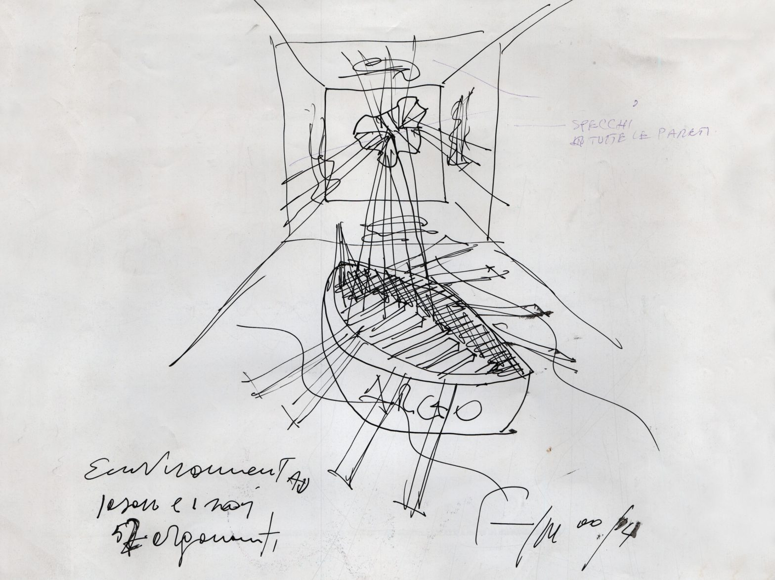 Sketch of a body of a ship inside a room.