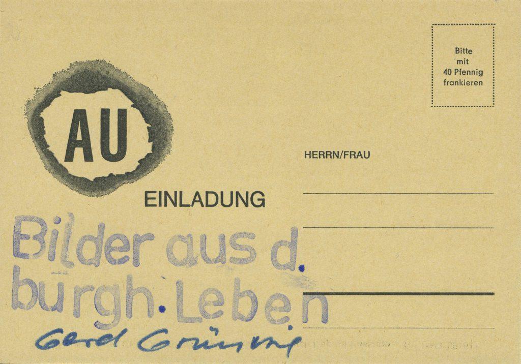 Postcard with logo AU.
