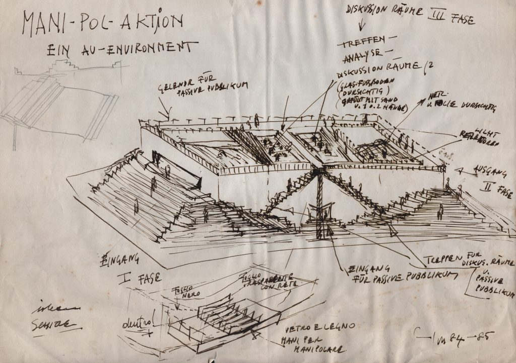 Axonometric view of the building with explanatory notes