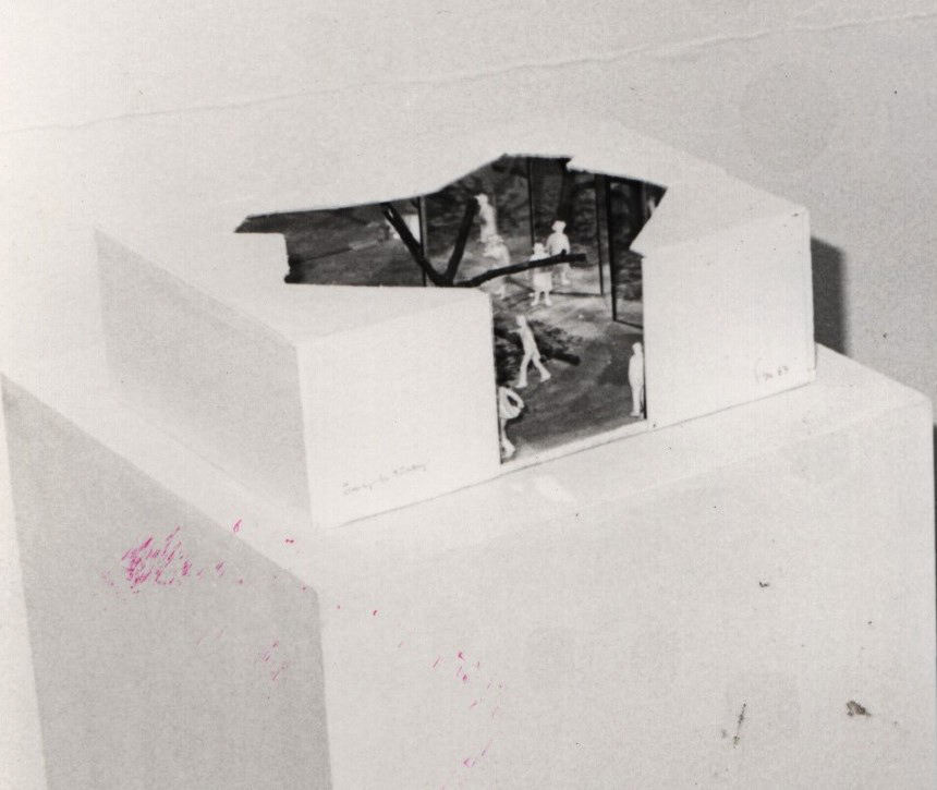 Cuboid room partly opened on top.