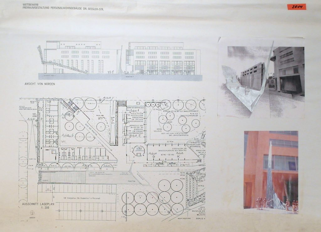 Presentation sheet with side-view, ground-floor plan, sketch and a simulated model-view.