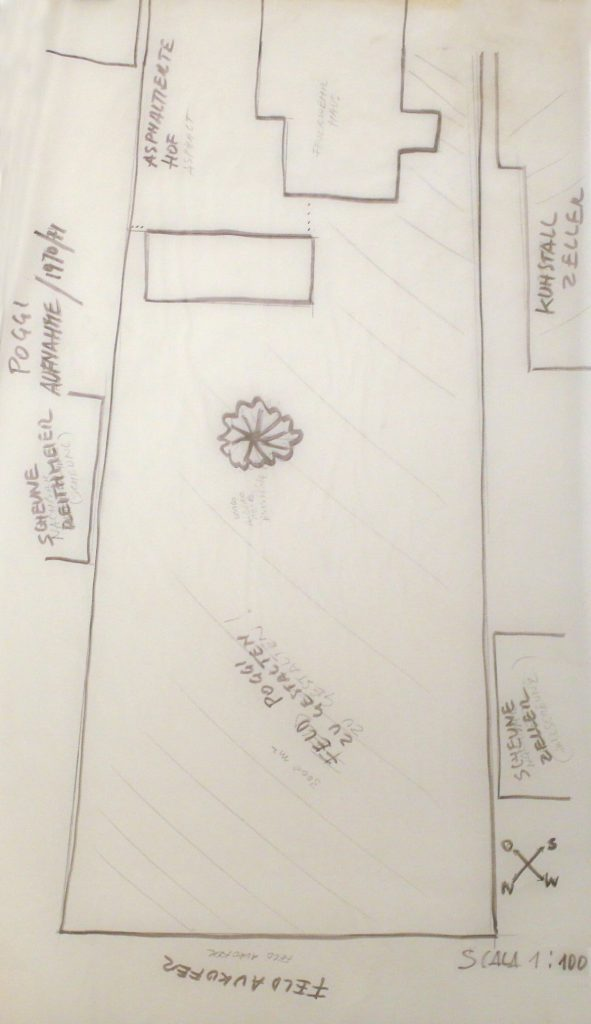 Roughly sketched ground plan of garden.