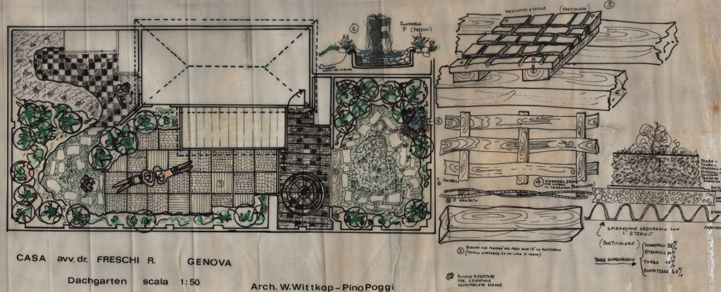 Garden plan with vegetattion and detail drawings.
