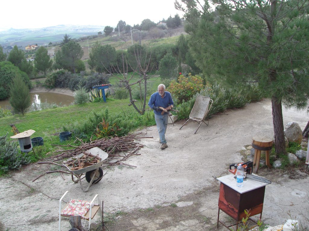 Man cutting wood in front of house.