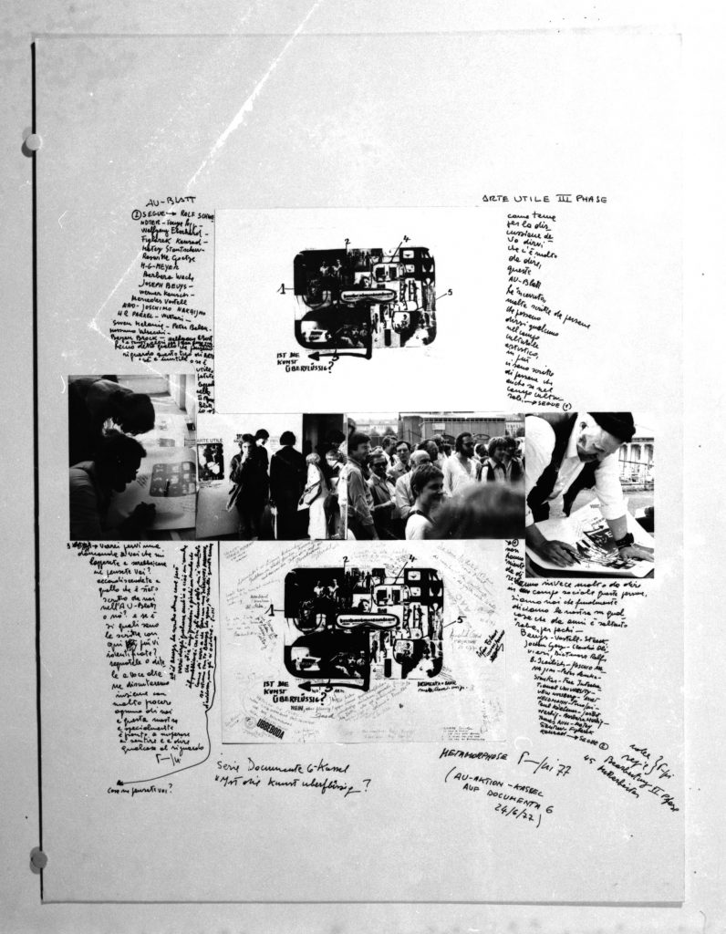 Large sheet with small sized former sheets, photo collages and handwritten text around.