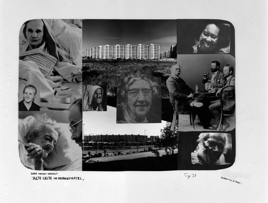 Large white sheet with photo-collage.