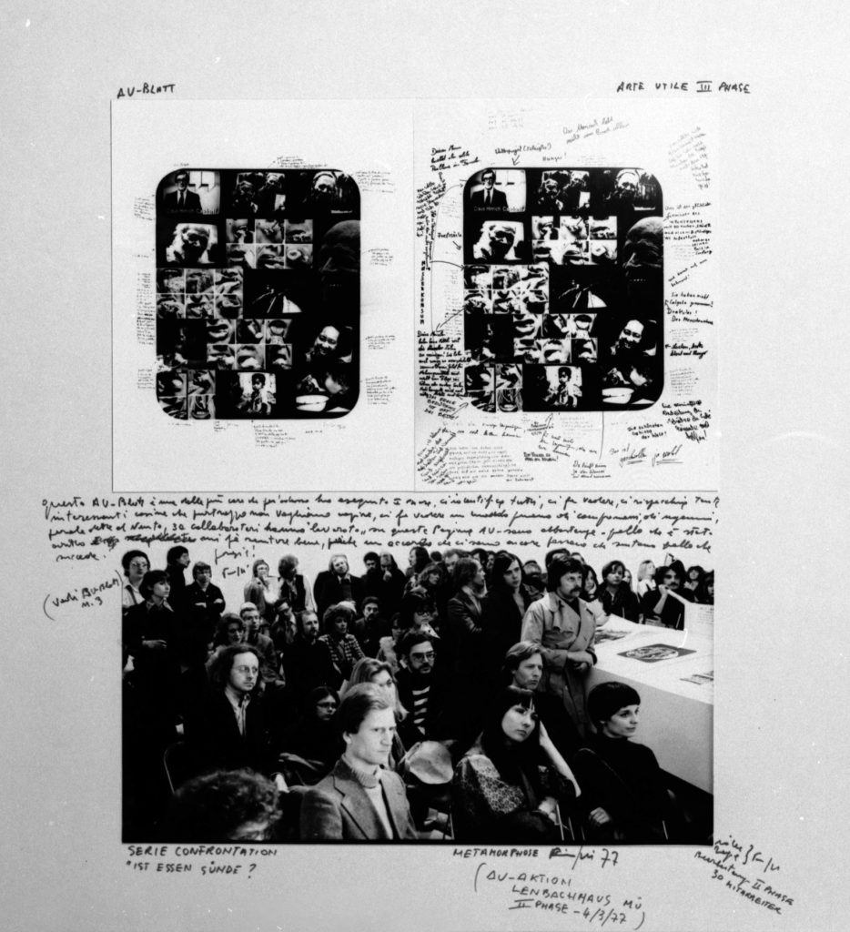 Large sheet with small sized former sheets, photo-collages and handwritten text around.