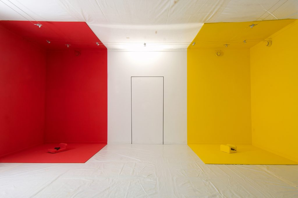 Left corner space red. Right yellow.