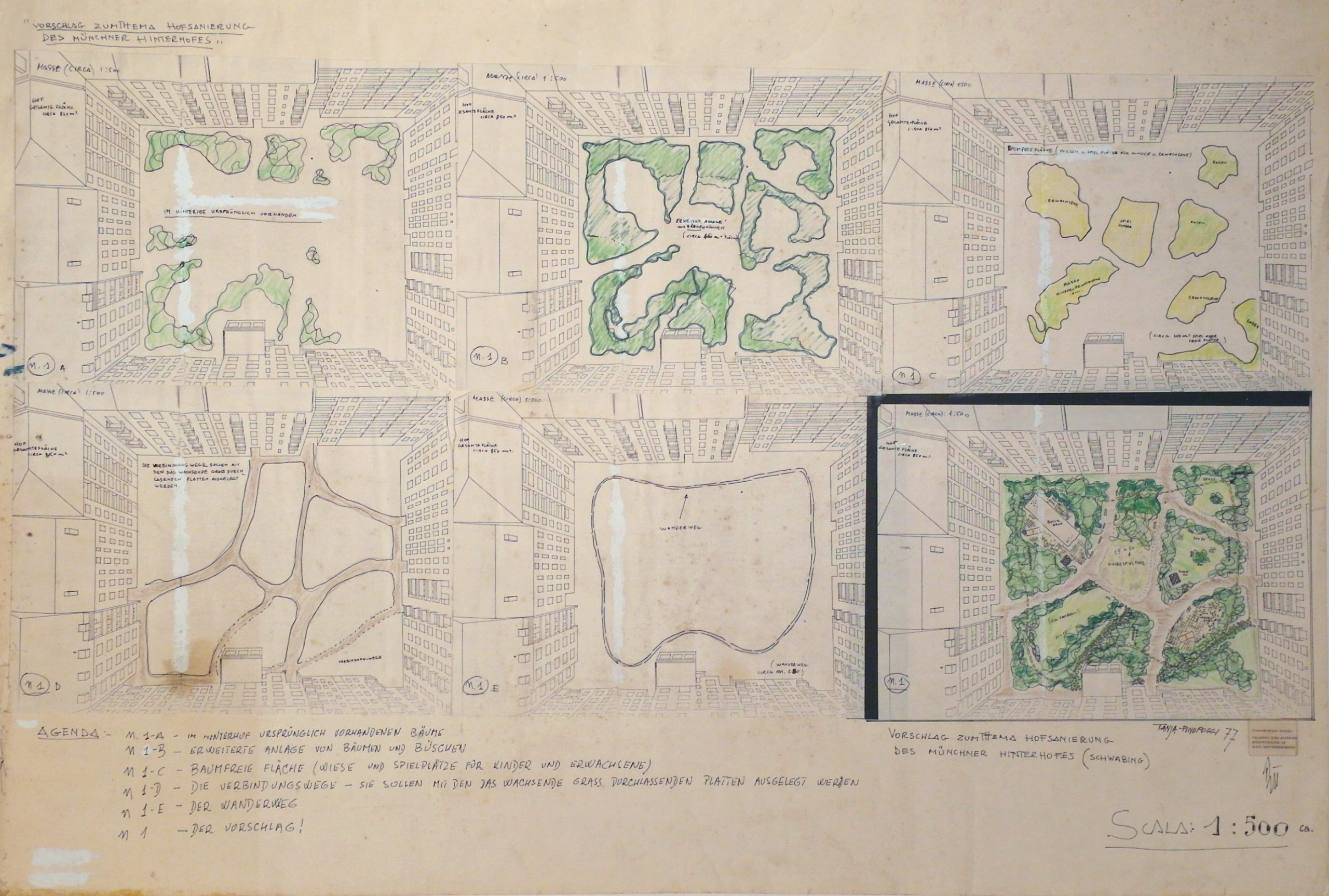 Ground plans of backyards with green marked vegetation.